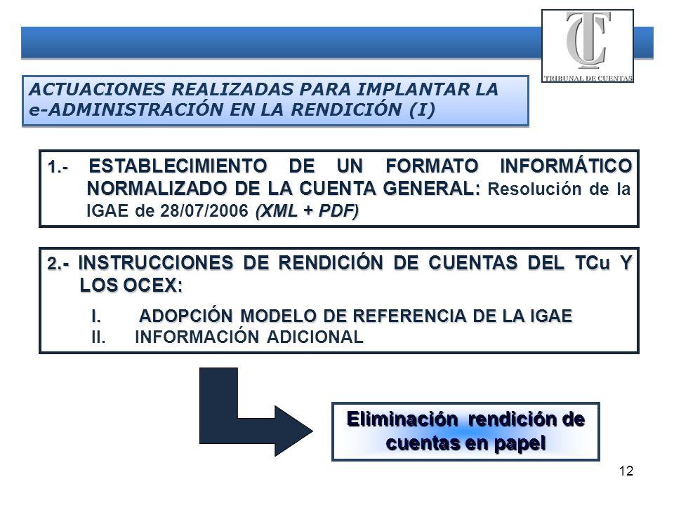12 ACTUACIONES REALIZADAS PARA IMPLANTAR LA e-ADMINISTRACIÓN EN LA RENDICIÓN (I) 1.- ESTABLECIMIENTO DE UN FORMATO INFORMÁTICO NORMALIZADO DE LA CUENT
