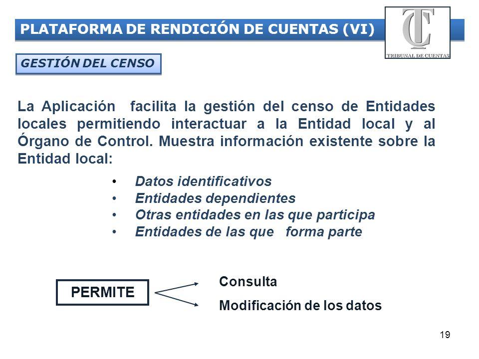 19 PLATAFORMA DE RENDICIÓN DE CUENTAS (VI) GESTIÓN DEL CENSO La Aplicación facilita la gestión del censo de Entidades locales permitiendo interactuar