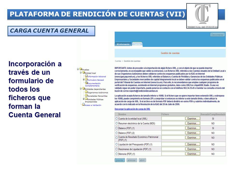 20 PLATAFORMA DE RENDICIÓN DE CUENTAS (VII) Incorporación a través de un formulario de todos los ficheros que forman la Cuenta General CARGA CUENTA GE