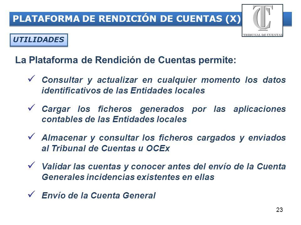 23 PLATAFORMA DE RENDICIÓN DE CUENTAS (X) UTILIDADES Consultar y actualizar en cualquier momento los datos identificativos de las Entidades locales Ca