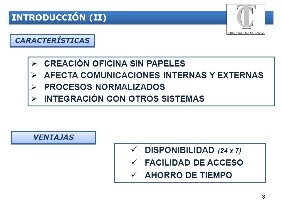 3 INTRODUCCIÓN (II) CARACTERÍSTICAS CREACIÓN OFICINA SIN PAPELES AFECTA COMUNICACIONES INTERNAS Y EXTERNAS PROCESOS NORMALIZADOS INTEGRACIÓN CON OTROS