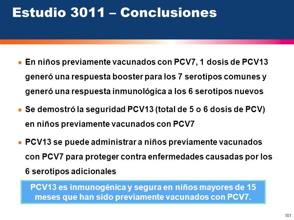 101 Estudio 3011 – Conclusiones PCV13 es inmunogénica y segura en niños mayores de 15 meses que han sido previamente vacunados con PCV7. En niños prev