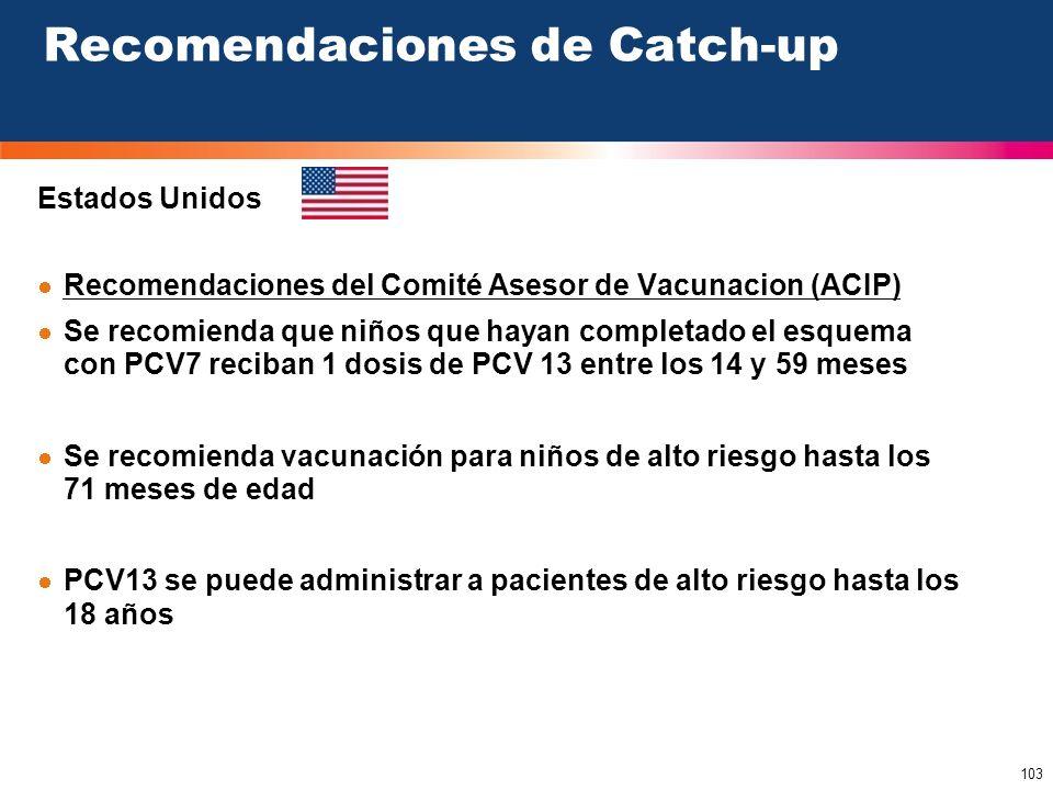 103 Estados Unidos Recomendaciones de Catch-up Recomendaciones del Comité Asesor de Vacunacion (ACIP) Se recomienda que niños que hayan completado el