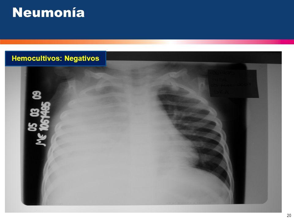 20 Hemocultivos: Negativos Neumonía