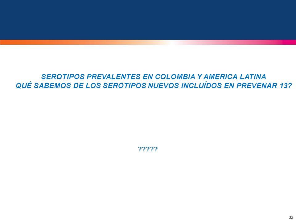 33 ????? SEROTIPOS PREVALENTES EN COLOMBIA Y AMERICA LATINA QUÉ SABEMOS DE LOS SEROTIPOS NUEVOS INCLUÍDOS EN PREVENAR 13?