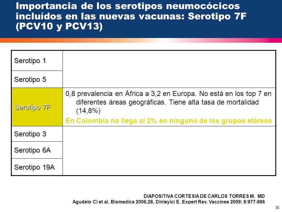 36 Importancia de los serotipos neumocócicos incluídos en las nuevas vacunas: Serotipo 7F (PCV10 y PCV13) Serotipo 1 Serotipo 5 Serotipo 7F 0,8 preval