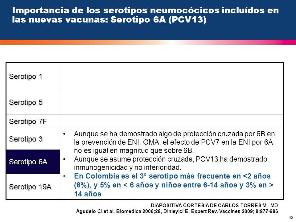 42 Importancia de los serotipos neumocócicos incluídos en las nuevas vacunas: Serotipo 6A (PCV13) Serotipo 1 Serotipo 5 Serotipo 7F Serotipo 3 Aunque