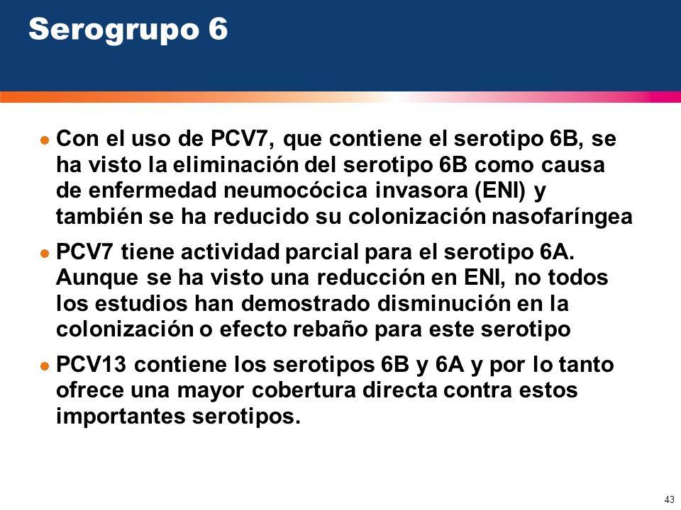43 Serogrupo 6 Con el uso de PCV7, que contiene el serotipo 6B, se ha visto la eliminación del serotipo 6B como causa de enfermedad neumocócica invaso