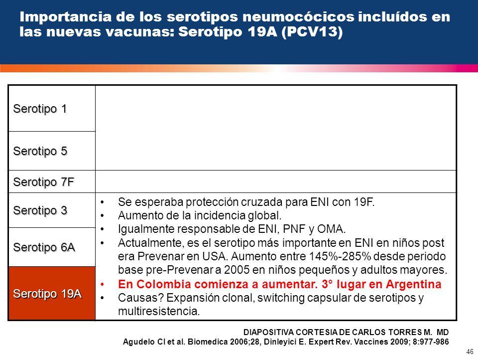 46 Importancia de los serotipos neumocócicos incluídos en las nuevas vacunas: Serotipo 19A (PCV13) Serotipo 1 Serotipo 5 Serotipo 7F Serotipo 3 Se esp