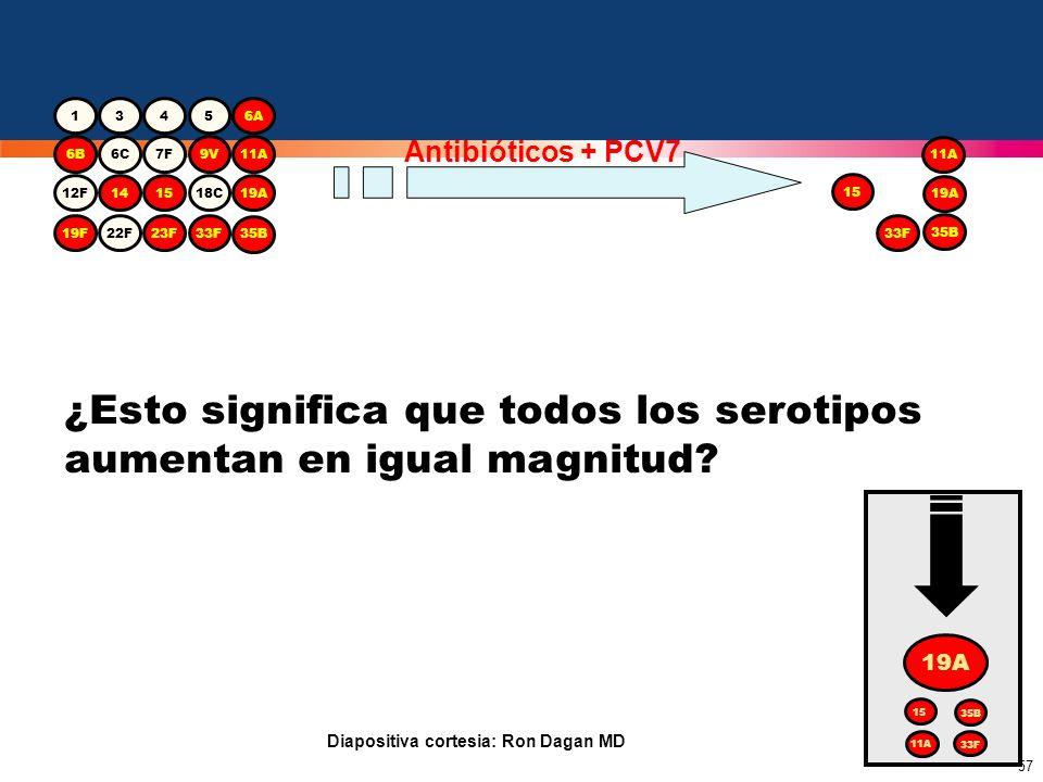 57 ¿Esto significa que todos los serotipos aumentan en igual magnitud? 19A 15 35B 33F 11A 1345 6B6C7F9V11A 12F141518C19A 19F22F23F33F 6A 35B 15 19A 35