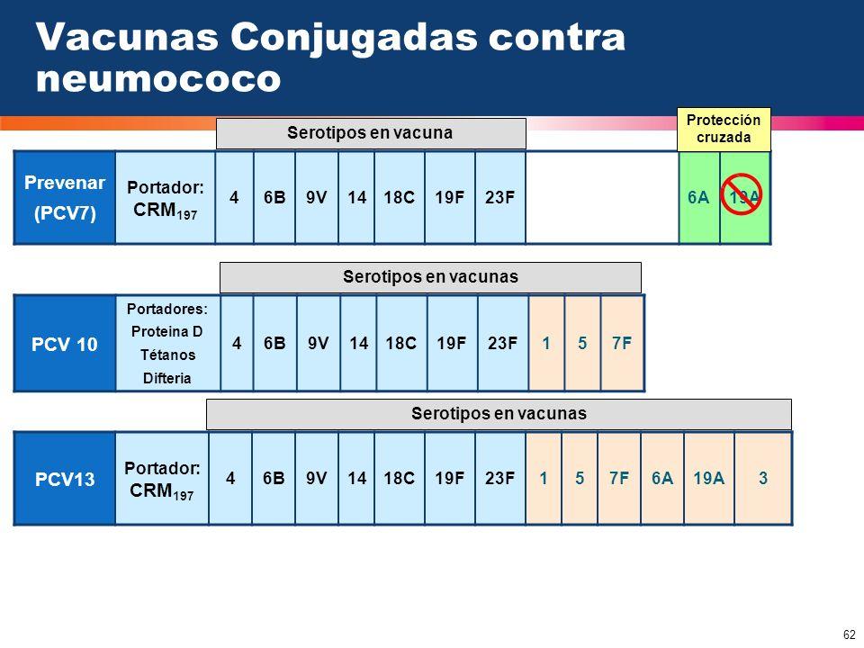 62 Vacunas Conjugadas contra neumococo PCV13 Portador: CRM 197 46B9V1418C19F23F157F6A19A3 PCV 10 Portadores: Proteina D Tétanos Difteria 46B9V1418C19F