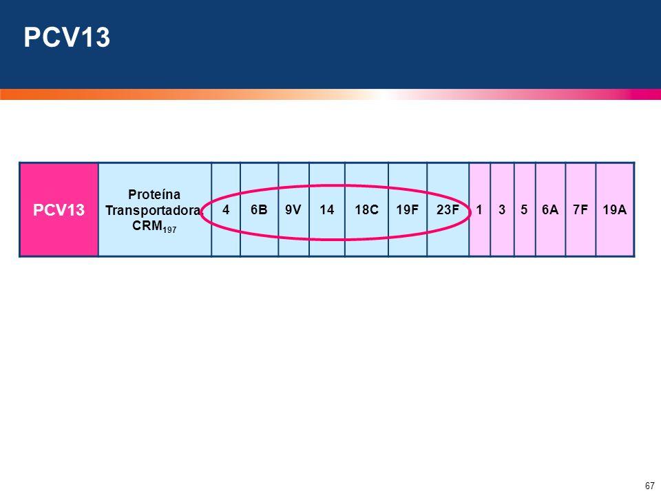 67 PCV13 Proteína Transportadora: CRM 197 46B9V1418C19F23F1356A7F19A PCV13