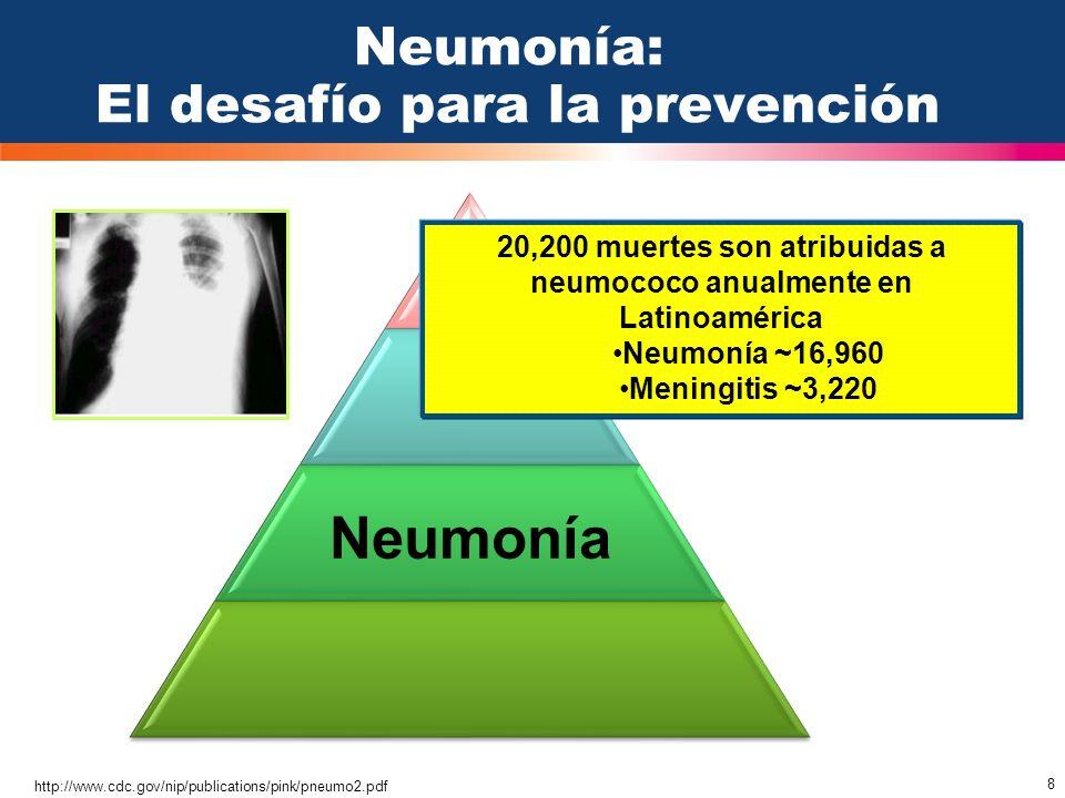 8 Neumonía http://www.cdc.gov/nip/publications/pink/pneumo2.pdf Neumonía: El desafío para la prevención 20,200 muertes son atribuidas a neumococo anua