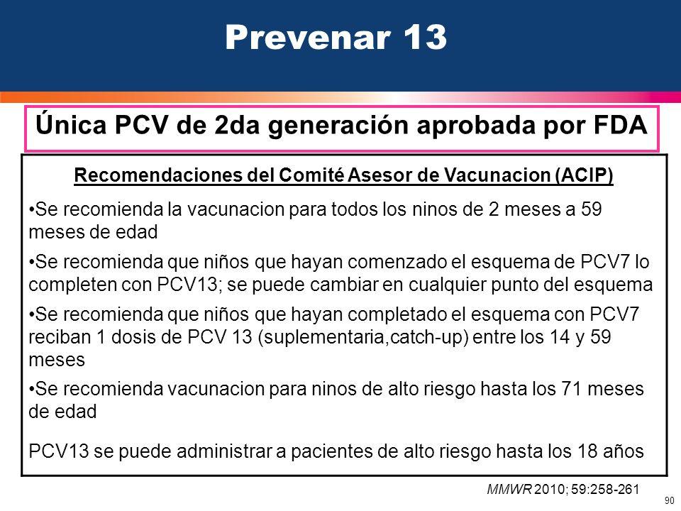 90 Prevenar 13 Única PCV de 2da generación aprobada por FDA Recomendaciones del Comité Asesor de Vacunacion (ACIP) Se recomienda la vacunacion para to