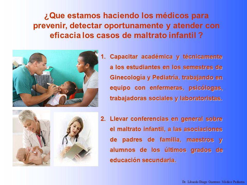 ¿Que estamos haciendo los médicos para prevenir, detectar oportunamente y atender con eficacia los casos de maltrato infantil ? 1.Capacitar académica