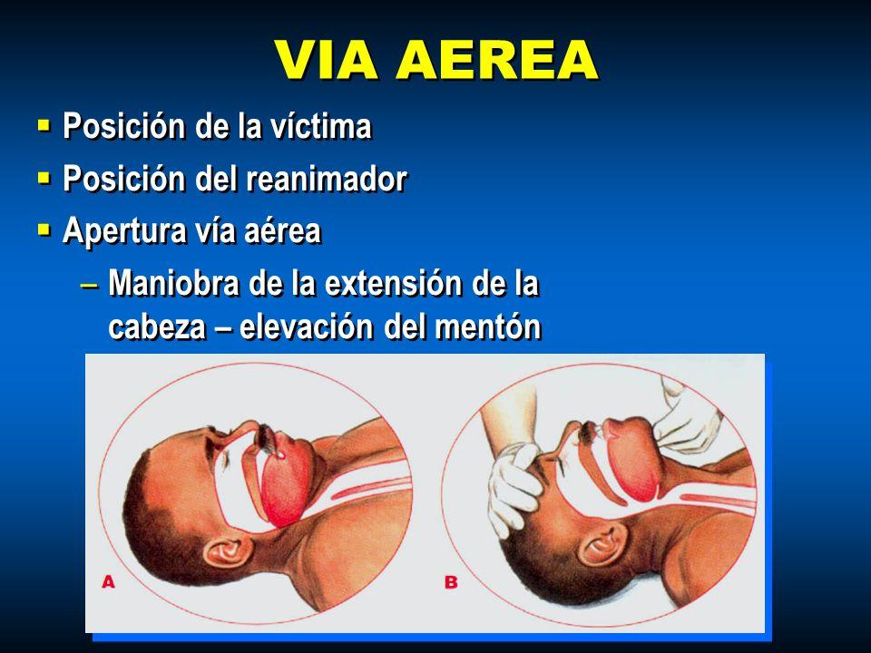 VIA AEREA Posición de la víctima Posición del reanimador Apertura vía aérea – Maniobra de la extensión de la cabeza – elevación del mentón Posición de