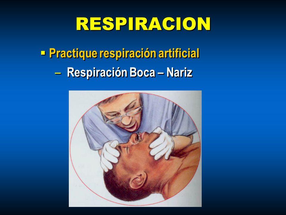 Practique respiración artificial – Respiración Boca – Nariz Practique respiración artificial – Respiración Boca – Nariz RESPIRACION