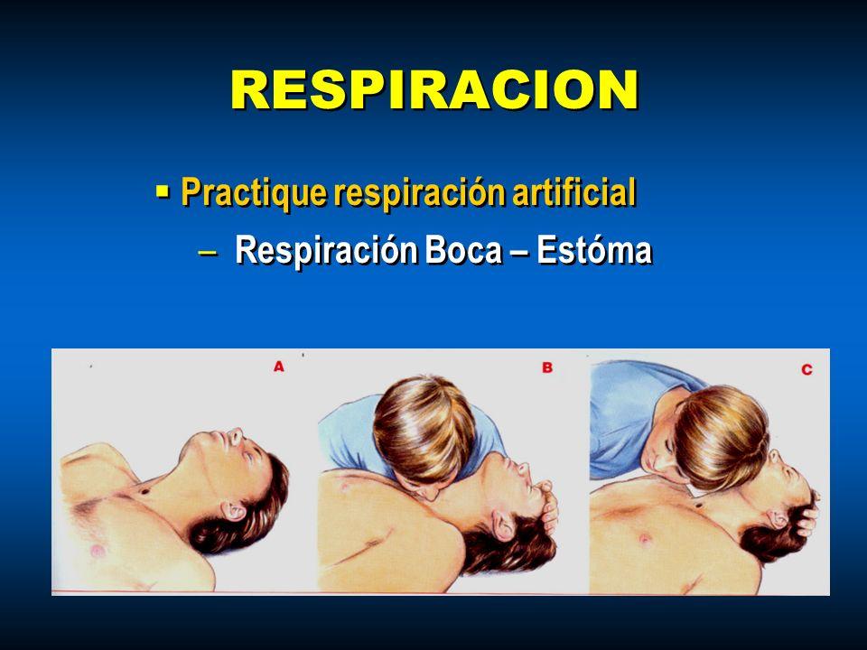 Practique respiración artificial – Respiración Boca – Estóma Practique respiración artificial – Respiración Boca – Estóma RESPIRACION
