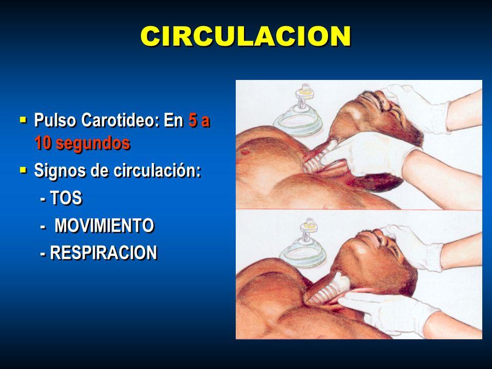 CIRCULACION Pulso Carotideo: En 5 a 10 segundos Signos de circulación: - TOS - MOVIMIENTO - RESPIRACION Pulso Carotideo: En 5 a 10 segundos Signos de