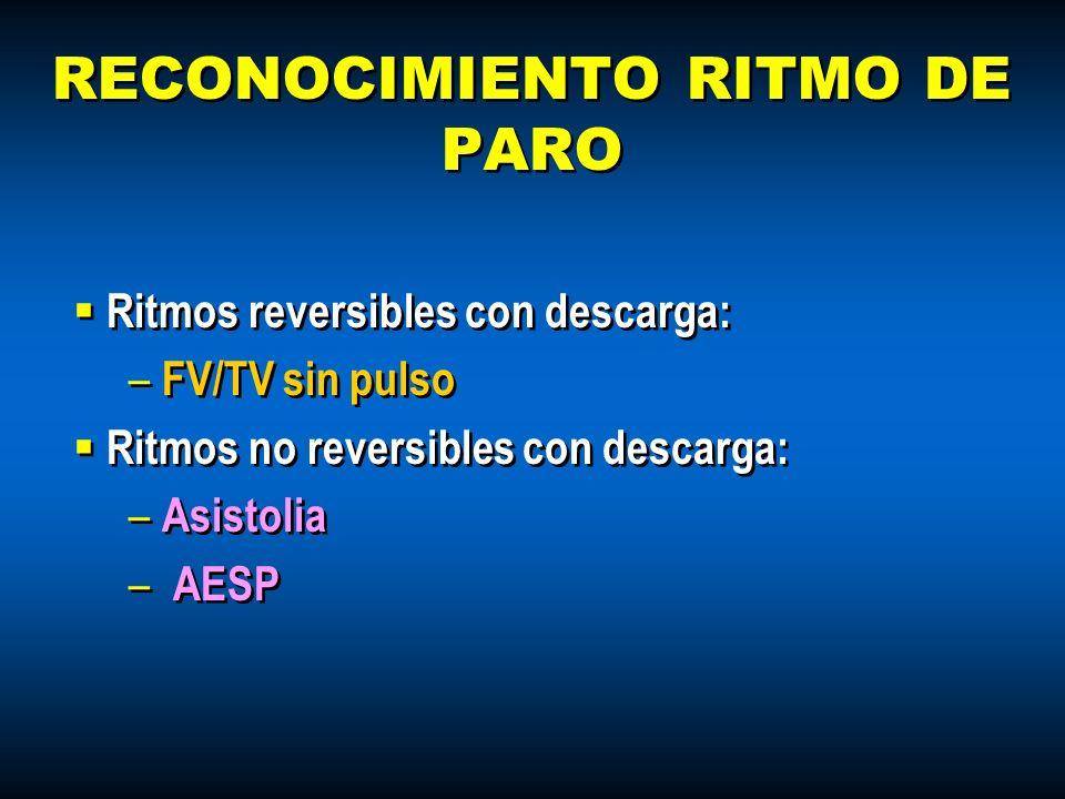 RECONOCIMIENTO RITMO DE PARO Ritmos reversibles con descarga: – FV/TV sin pulso Ritmos no reversibles con descarga: – Asistolia – AESP Ritmos reversib