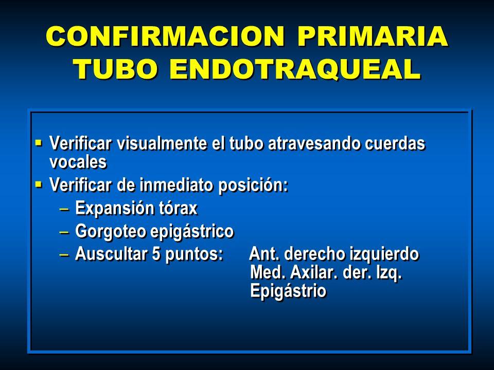 Verificar visualmente el tubo atravesando cuerdas vocales Verificar de inmediato posición: – Expansión tórax – Gorgoteo epigástrico – Auscultar 5 punt