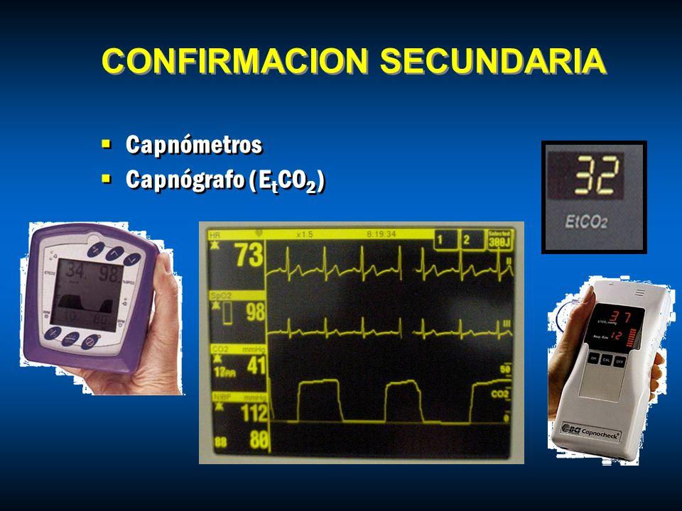 Capnómetros Capnógrafo (E t CO 2 ) Capnómetros Capnógrafo (E t CO 2 ) CONFIRMACION SECUNDARIA