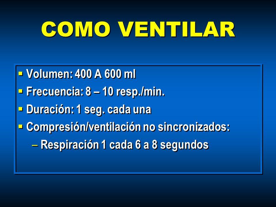 COMO VENTILAR Volumen: 400 A 600 ml Frecuencia: 8 – 10 resp./min. Duración: 1 seg. cada una Compresión/ventilación no sincronizados: – Respiración 1 c