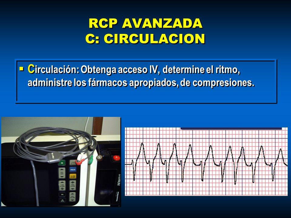 RCP AVANZADA C: CIRCULACION C irculación: Obtenga acceso IV, determine el ritmo, administre los fármacos apropiados, de compresiones.