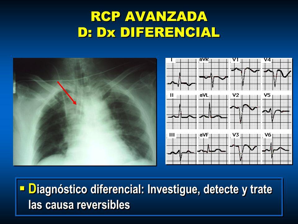 RCP AVANZADA D: Dx DIFERENCIAL D iagnóstico diferencial: Investigue, detecte y trate las causa reversibles