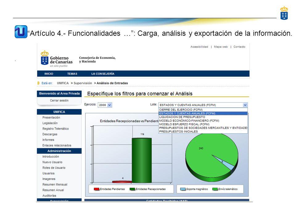 . Artículo 4.- Funcionalidades …: Carga, análisis y exportación de la información.