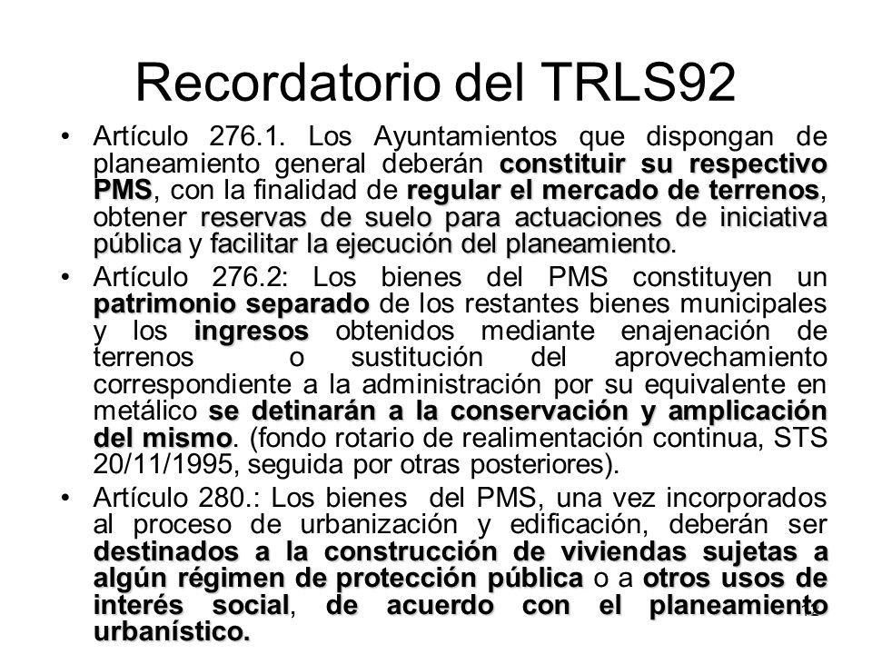 12 Recordatorio del TRLS92 constituir su respectivo PMSregular el mercado de terrenos reservas de suelo para actuaciones de iniciativa públicafacilita