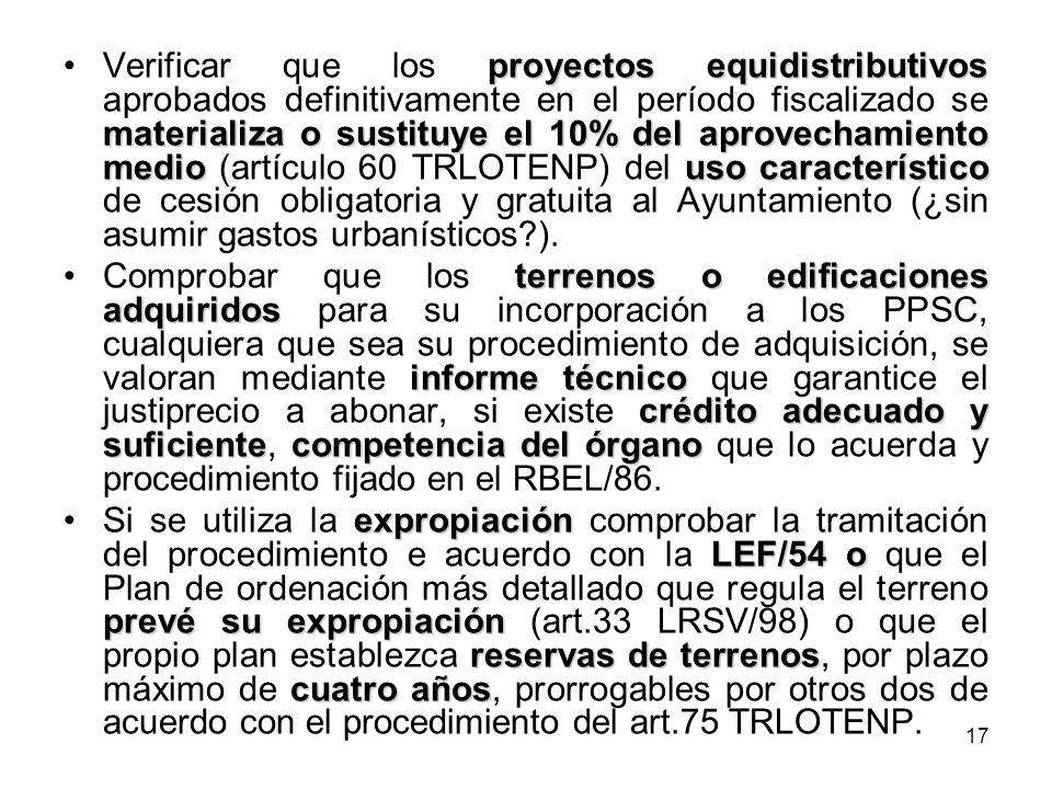 17 proyectos equidistributivos materializa o sustituye el 10% del aprovechamiento mediouso característicoVerificar que los proyectos equidistributivos