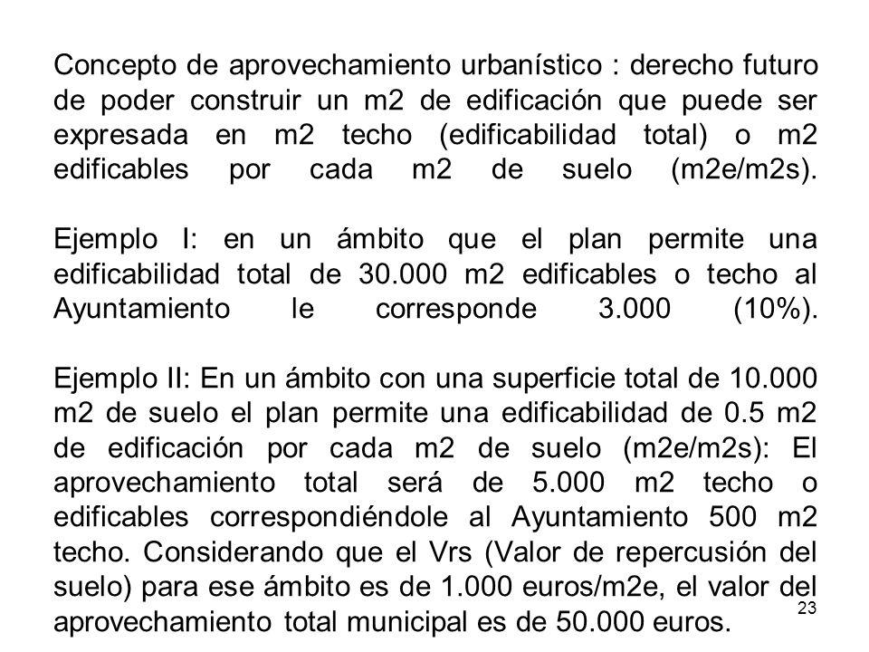 23 Concepto de aprovechamiento urbanístico : derecho futuro de poder construir un m2 de edificación que puede ser expresada en m2 techo (edificabilida