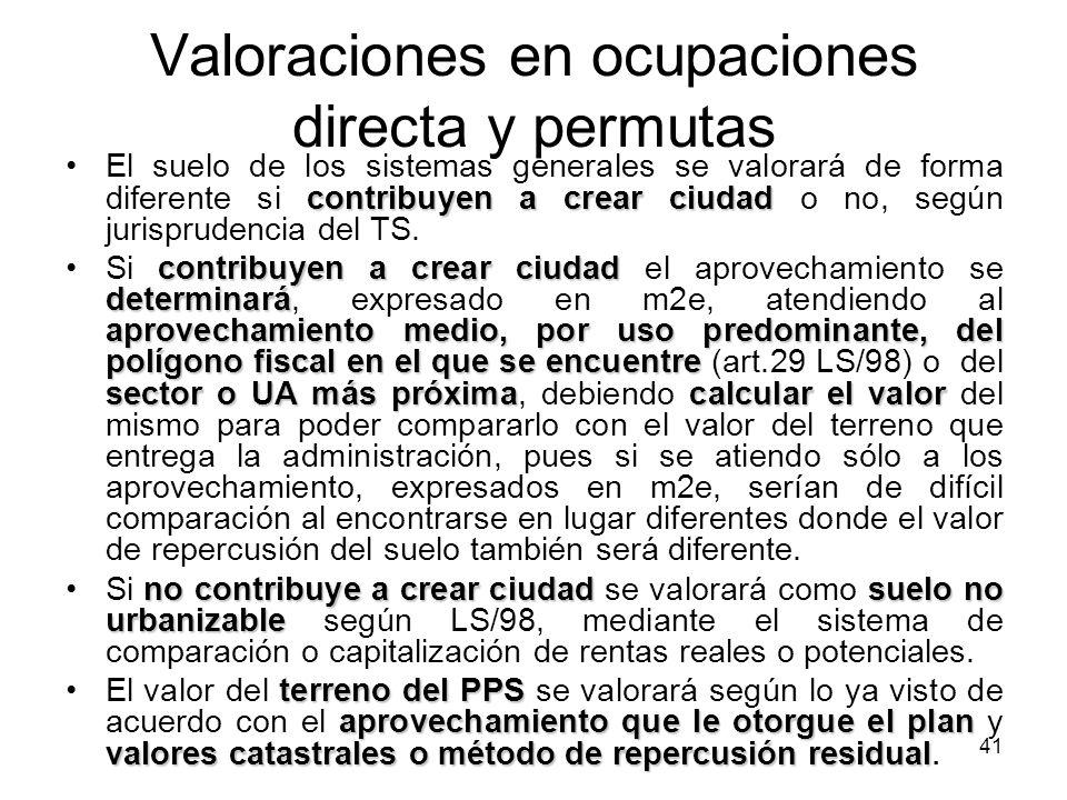 41 Valoraciones en ocupaciones directa y permutas contribuyen a crear ciudadEl suelo de los sistemas generales se valorará de forma diferente si contr