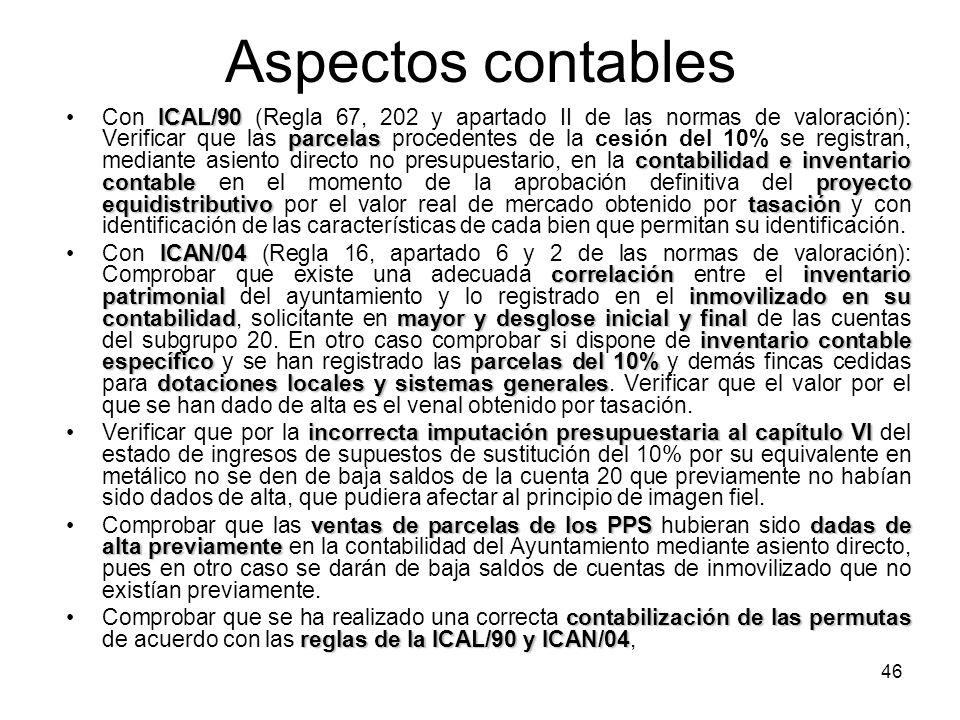 46 Aspectos contables ICAL/90 parcelas contabilidad einventario contableproyecto equidistributivotasaciónCon ICAL/90 (Regla 67, 202 y apartado II de l
