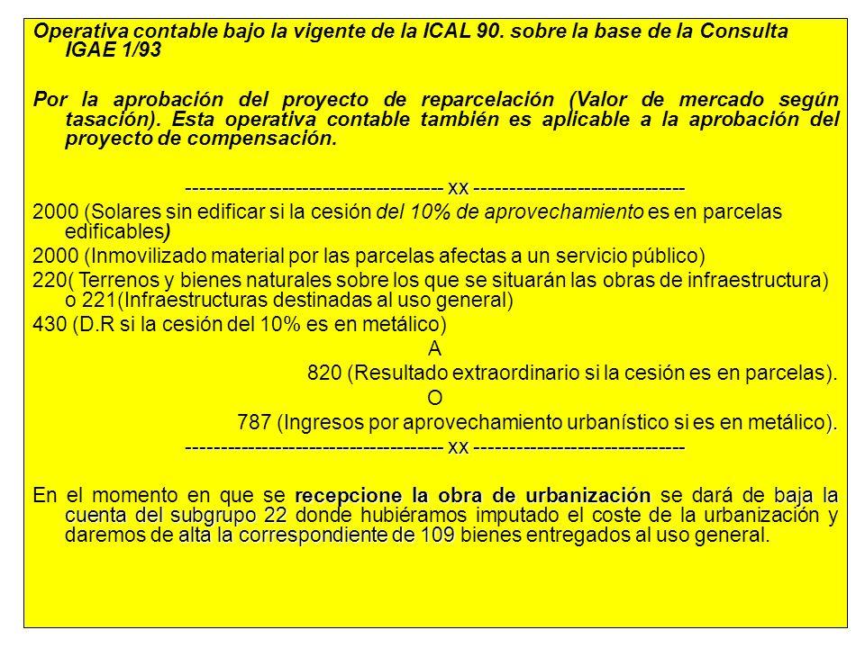 47 Operativa contable bajo la vigente de la ICAL 90. sobre la base de la Consulta IGAE 1/93 Por la aprobación del proyecto de reparcelación (Valor de