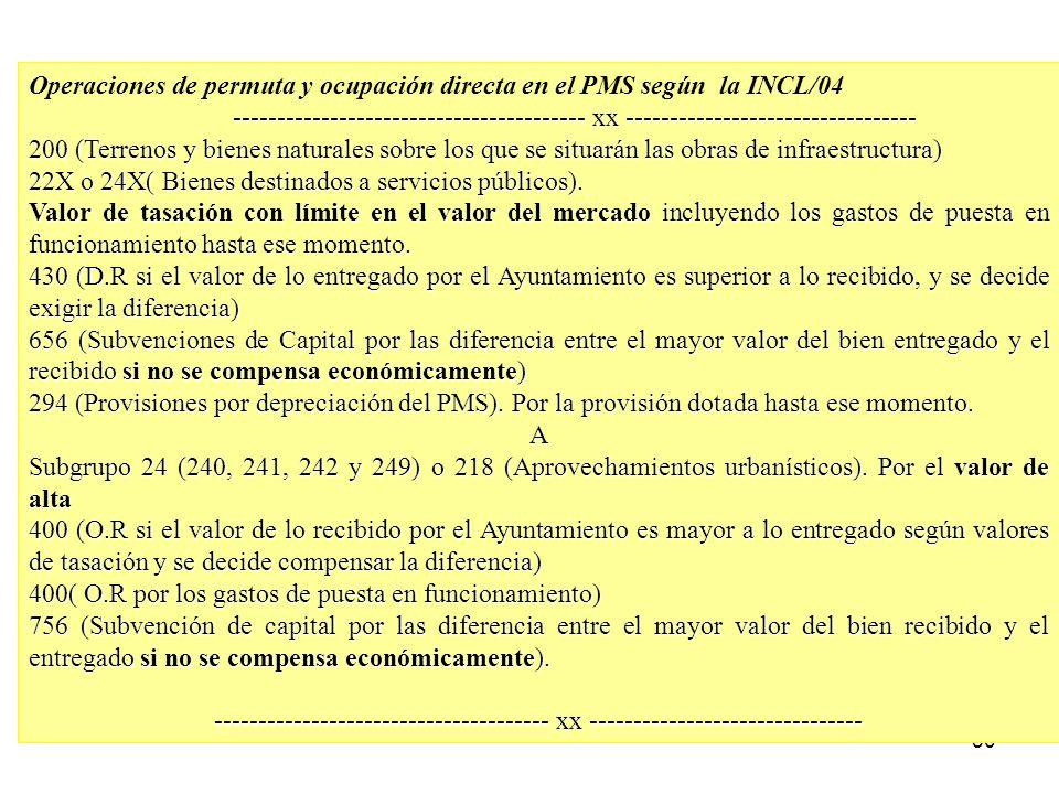50 Operaciones de permuta y ocupación directa en el PMS según la INCL/04 ---------------------------------------- xx ---------------------------------