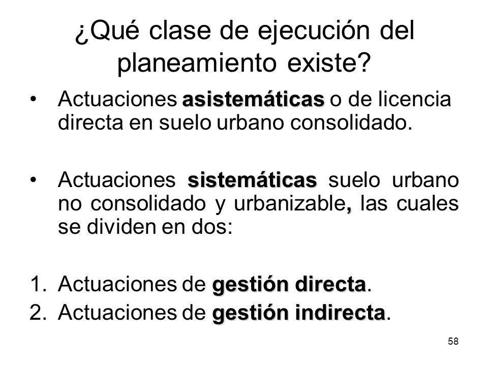 58 ¿Qué clase de ejecución del planeamiento existe? asistemáticasActuaciones asistemáticas o de licencia directa en suelo urbano consolidado. sistemát