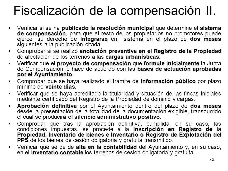73 Fiscalización de la compensación II. publicado la resolución municipalsistema de compensación integrarsedos mesesVerificar si se ha publicado la re