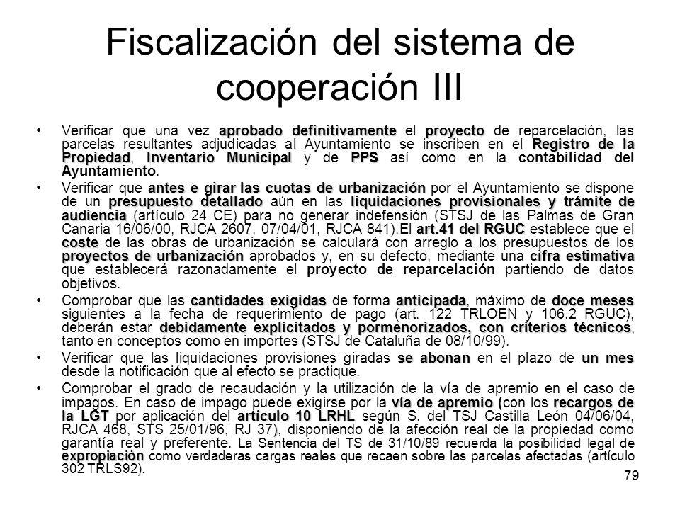 79 Fiscalización del sistema de cooperación III aprobado definitivamenteproyecto Registro de la PropiedadInventario MunicipalPPSVerificar que una vez