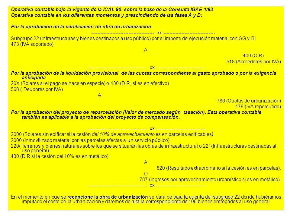 83 Operativa contable bajo la vigente de la ICAL 90. sobre la base de la Consulta IGAE 1/93 Operativa contable en los diferentes momentos y prescindie
