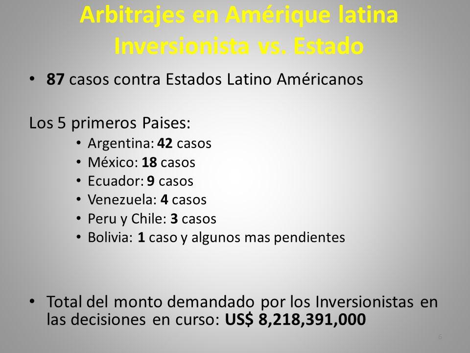 6 Arbitrajes en Amérique latina Inversionista vs. Estado 87 casos contra Estados Latino Américanos Los 5 primeros Paises: Argentina: 42 casos México: