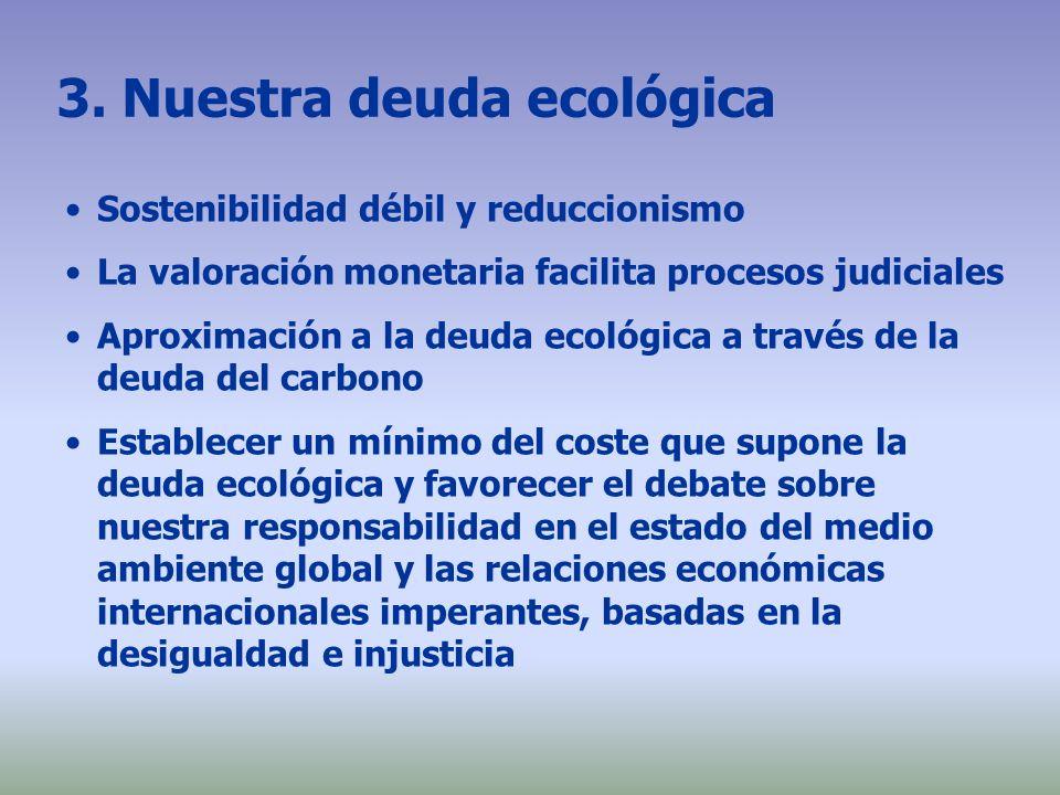 3. Nuestra deuda ecológica Sostenibilidad débil y reduccionismo La valoración monetaria facilita procesos judiciales Aproximación a la deuda ecológica