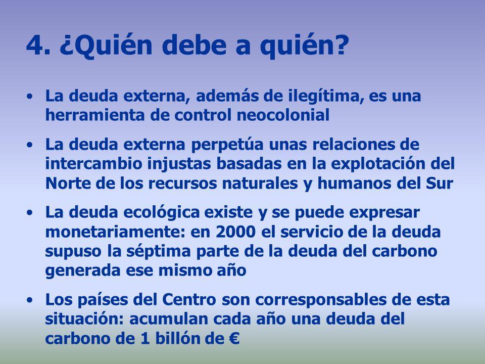 4. ¿Quién debe a quién? La deuda externa, además de ilegítima, es una herramienta de control neocolonial La deuda externa perpetúa unas relaciones de