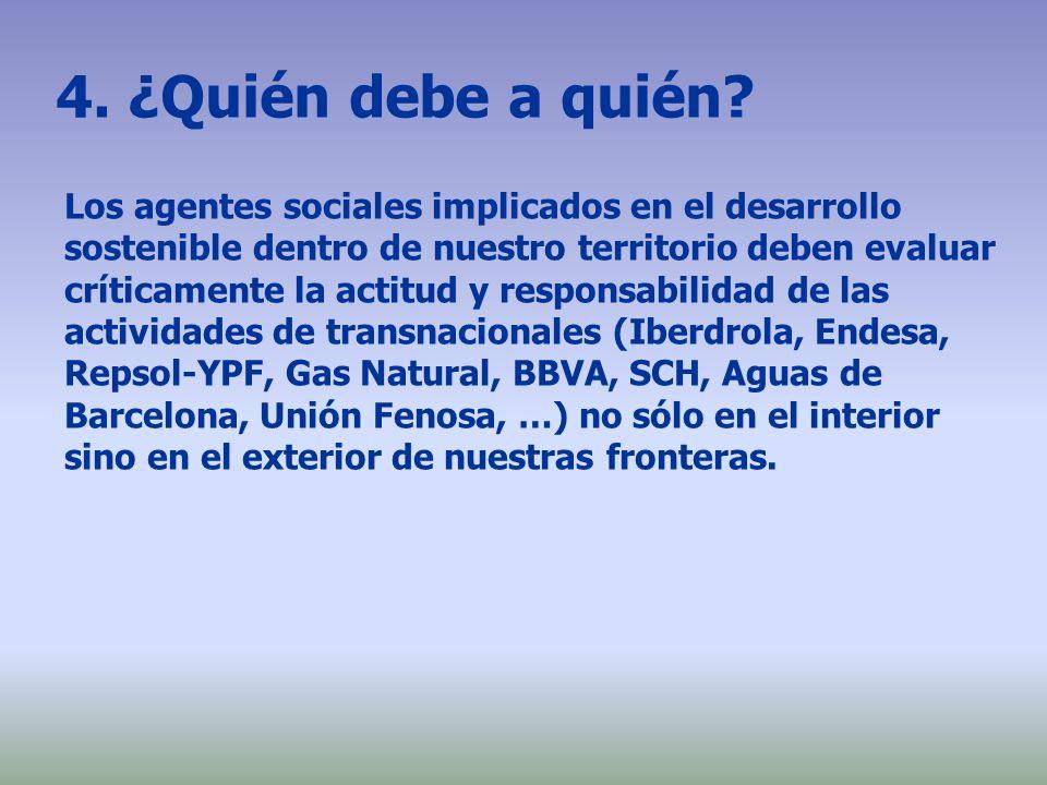 4. ¿Quién debe a quién? Los agentes sociales implicados en el desarrollo sostenible dentro de nuestro territorio deben evaluar críticamente la actitud