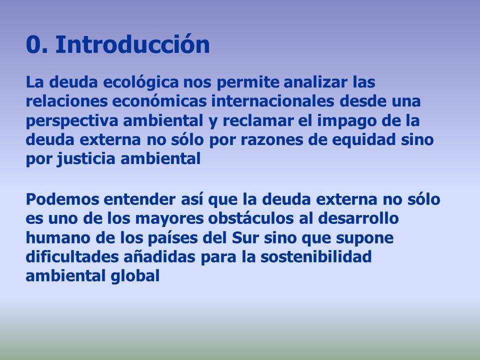 0. Introducción La deuda ecológica nos permite analizar las relaciones económicas internacionales desde una perspectiva ambiental y reclamar el impago