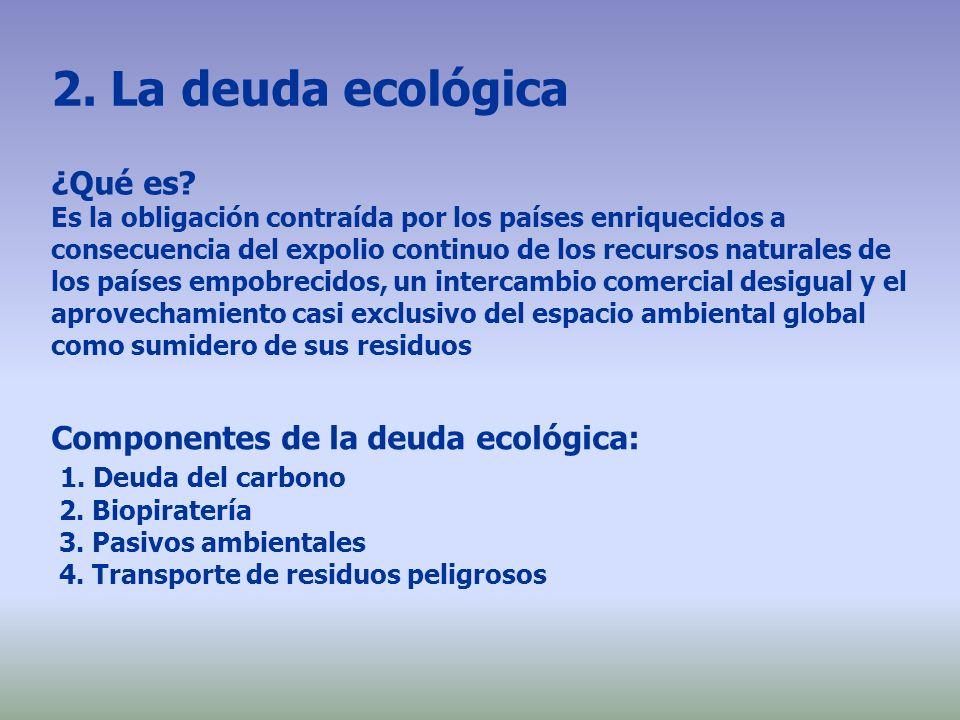 2. La deuda ecológica ¿Qué es? Es la obligación contraída por los países enriquecidos a consecuencia del expolio continuo de los recursos naturales de