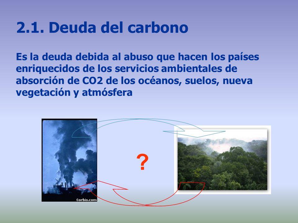 2.1. Deuda del carbono Es la deuda debida al abuso que hacen los países enriquecidos de los servicios ambientales de absorción de CO2 de los océanos,