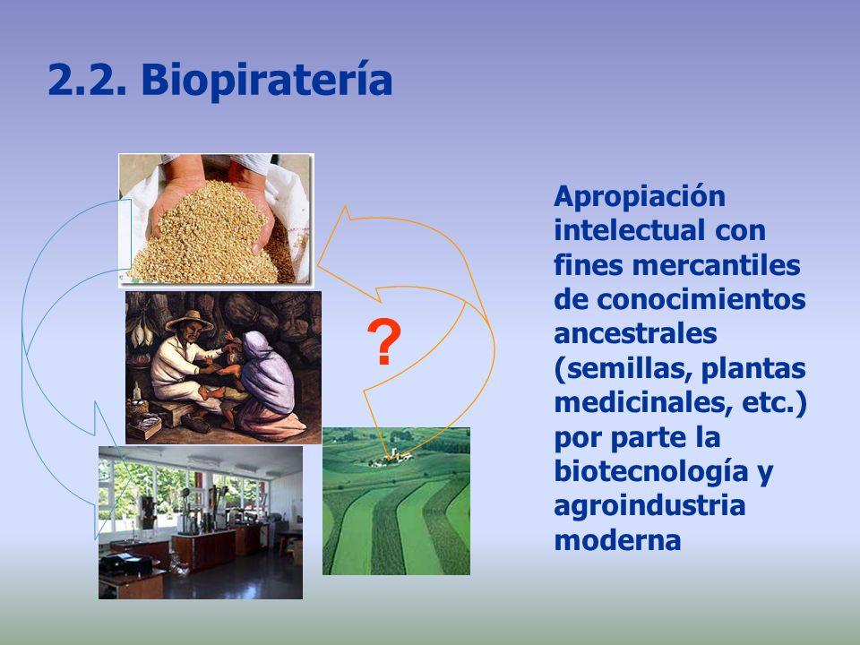2.2. Biopiratería Apropiación intelectual con fines mercantiles de conocimientos ancestrales (semillas, plantas medicinales, etc.) por parte la biotec