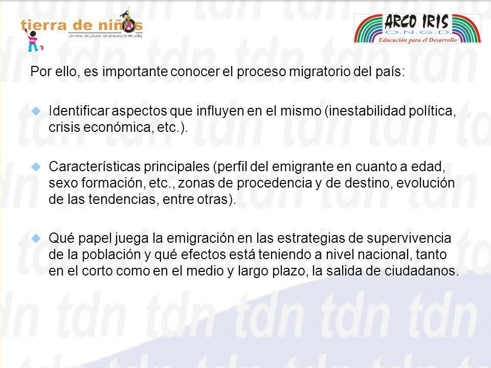 Por ello, es importante conocer el proceso migratorio del país: Identificar aspectos que influyen en el mismo (inestabilidad política, crisis económic